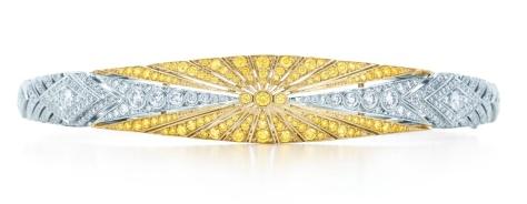 Bransoleta z żółtymi i białymi diamentami wykonana w platynie w stylu Art Deco. Źródło: Tiffany & Co.